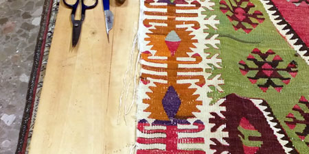 Restauración de festón lateral de kilim