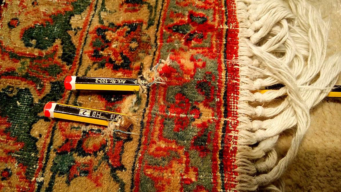 Restauración agujero alfombra Kashan