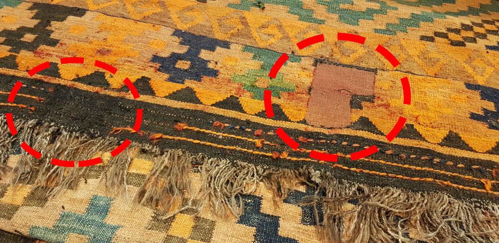 Restauración finalizada kilim tejido nuevo agujero
